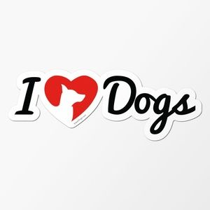 I Love Dogs Logo Car Magnet